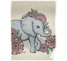 Little Elephant in soft vintage pastels Poster