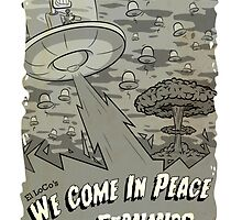 We Come In Peace BW by ellocoart