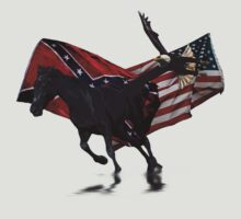 Rebel & US Flags w Racing Horse and Flying Eagle by Val  Brackenridge