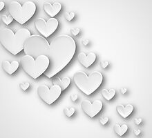 White Three Dimensional Cascading Hearts by RumourHasIt