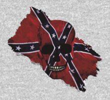 Patriotic Rebel Flag Skull by Val  Brackenridge