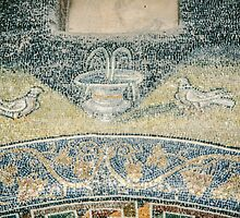 Birds beside fountain mosaic mid C5 Tomb of Gallia Placida Ravenna Italy 198404140073 by Fred Mitchell