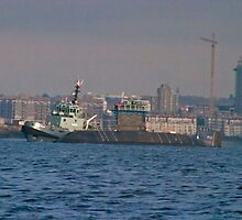 HCMS Chicoutimi In Tow by Derek Lowe