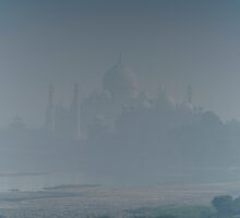 Taj Mahal from Agra Fort in blue haze by Nick Dale
