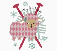 argyle sheep knitting needles yarn Christmas card by BigMRanch