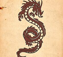Chinese Tribal Dragon Old Aged Paper Red Orange by sitnica