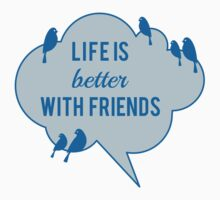 Life is better with friends, birds on blue cloud Kids Clothes