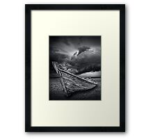 Boat with Storm Brewing Framed Print