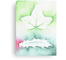 'Holly & Ivy' Christmas design - Aquamarkers. Canvas Print