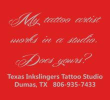 Tattoo artist works in by TxInkslingers