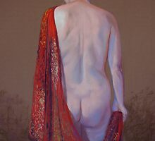 Shannon in a Red Silk Shawl by Lynda Robinson