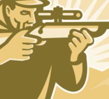 Hunter Aiming Rifle Oval Retro Sticker