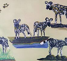 African Wild Dog Montage. By Jane Flowers by janeflowersart