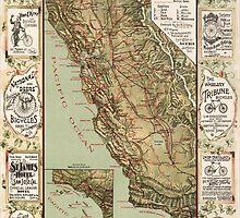 Cycling Map of California 1895 by caljaysoc