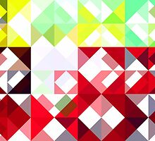 Mixed Color Poinsettias 2 Abstract Triangles 1 by Christopher Johnson