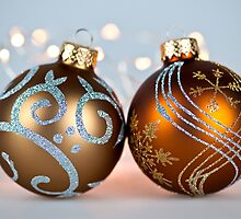 Golden Christmas ornaments by Elena Elisseeva