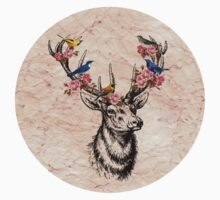 Deer with Birds and Flowers Kids Clothes