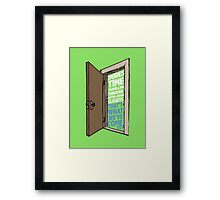 Dudes time traveling through motel-room closets Framed Print