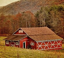 A Red Barn and Fall Landscape by vigor
