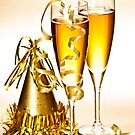 Champagne and New Years party decorations by Elena Elisseeva