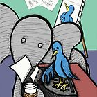 Elephant and the Bird - Coffee Break by Brett Gilbert