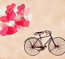 Heart-Shaped Balloons and Bicycle by RumourHasIt