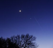 Moon, Stars, Planets and a shooting star by Brevis