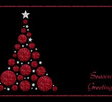 Red Glitter Christmas Tree - Season's Greetings by RumourHasIt