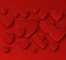 Red Three Dimensional Peeling Hearts by RumourHasIt