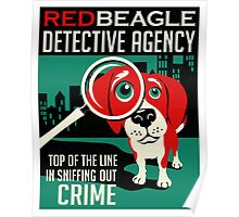 Red Beagle Detective Agency Retro Poster- original art Poster