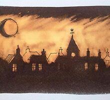 Moonlit Village by Martin Williamson (©cobbybrook)