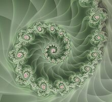 Beautiful Green Spiral Fractal  by Kitty Bitty