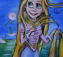 Rapunzel in a Botticelli Style (The Birth of Venus) by lissyleem