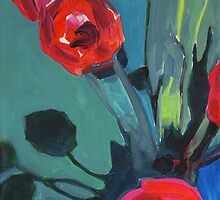 Red Tulips Abstract by ArtspaceTF
