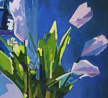 White and Pink Tulips on a Blue Background by ArtspaceTF