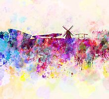 Amsterdam skyline in watercolor background by Pablo Romero