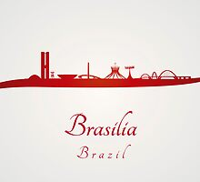 Brasilia skyline in red and gray background by Pablo Romero