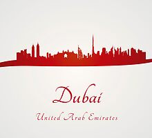 Dubai skyline in red and gray background by Pablo Romero