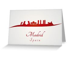 Madrid skyline in red and gray background Greeting Card