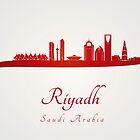 Riyadh skyline in red and gray background by paulrommer