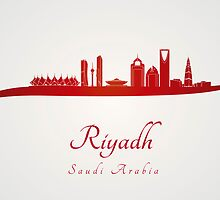 Riyadh skyline in red and gray background by Pablo Romero