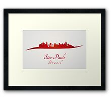 Sao Paulo skyline in red and gray background Framed Print