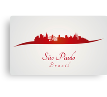 Sao Paulo skyline in red and gray background Canvas Print