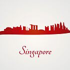 Singapore skyline in red and gray background by Pablo Romero
