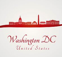 Washington DC skyline in red and gray background by paulrommer
