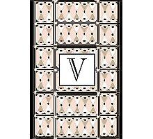 1920s Pink Champagne Gatsby Monogram letter V Photographic Print