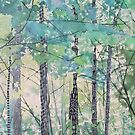 Walking in the Woods, mixed media and zentangles by Sandrine Pelissier