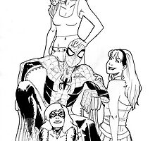 Spiderman and his girls by -Oujo-
