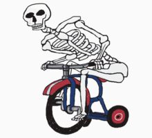 Skeleton On Tricycle  by david michael  schmidt