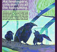 Babysitters' club (American crow) - CARD by Gwenn Seemel